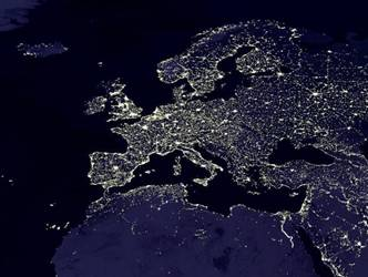 Europe and North Africa at night