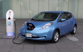 Nisson Leaf electric car with plug