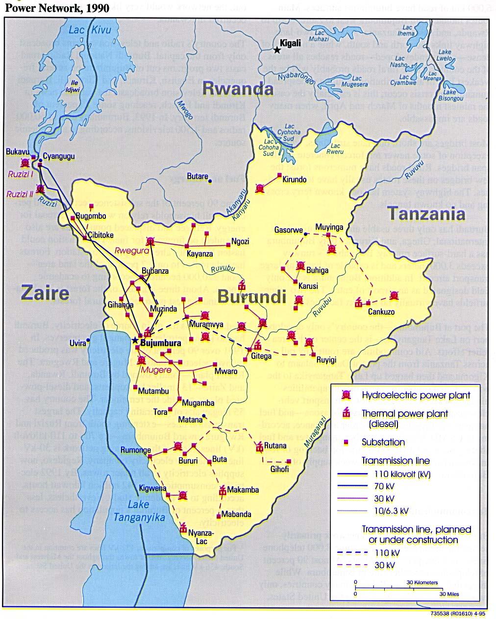 Map Of Burundi Electricity Grid Burundi National Energy Grids - Where is burundi on a world map