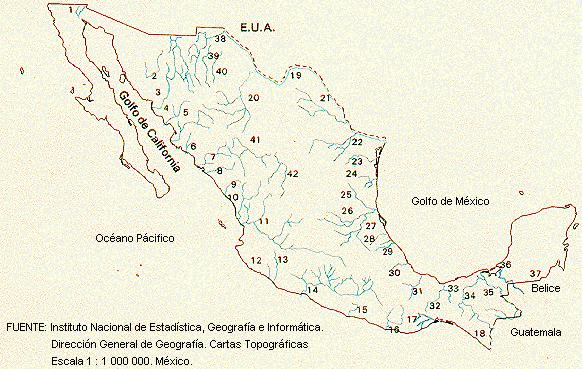 Energy Overview of Mexico – Map of Mexico Rivers