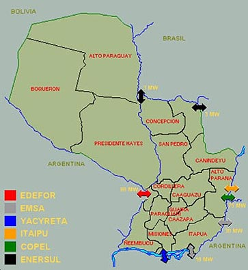 National Energy Grid Of Paraguay National Electricity - Map of paraguay