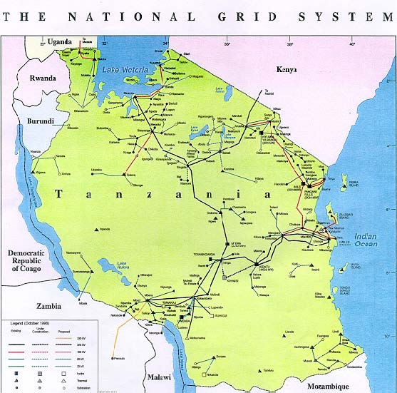 Map of Tanzanian Electricity Grid  Tanzanian  National Energy