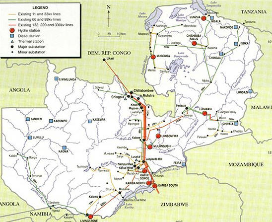 Zambia Electricity Grid Map
