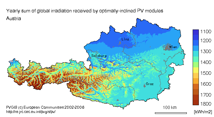 Austrian solar resource map renewable energy resources library solar energy in austria gumiabroncs Images