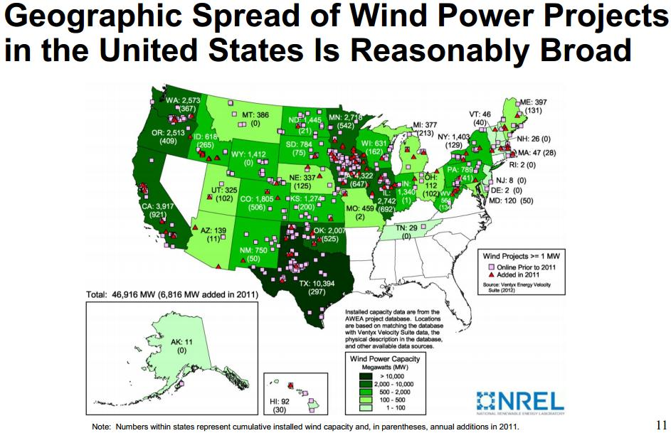 Southwest Region A Map Of Every Wind Turbine In The US - Map of wind farms in us